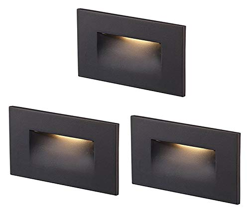 Cloudy Bay 120V LED Step Light,3-Pack,3000K Warm White 3W 100lm,Indoor/Outdoor Stair Light,Oil Rubbed Bronze