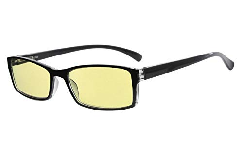 Eyekepper Blue Light Blocking Glasses Small Rectangle Lenses-Yellow Tinted Lens Computer Eyeglasses (Black-Transparent, ()