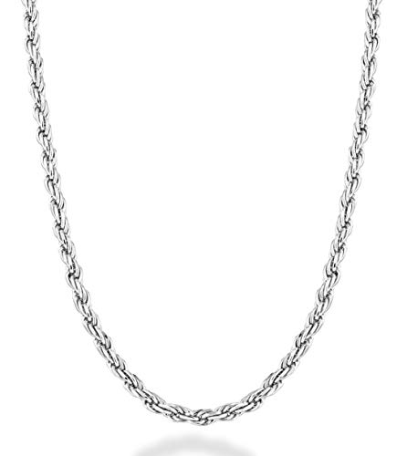 Miabella Sterling Silver Italian 2mm, 3mm Solid Diamond-Cut Braided Rope Chain Necklace for Men Women 925 Italy 16, 18, 20, 22, 24, 26, 28, 30 Inch (16, 2mm)