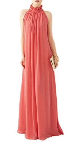 VSVO Women Halter Neck Sleeveless Chiffon Maxi Dresses (One Size, Pink) ()
