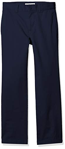 Amazon Essentials Boy's Straight Leg Flat Front Uniform Chino Pant, Navy Blue, 12(S)