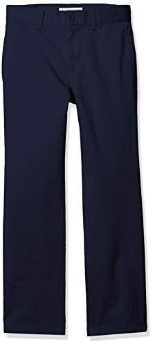 Amazon Essentials Boy's Straight Leg Flat Front Uniform Chino Pant, Navy Blue, 16(H)