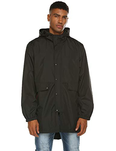 Avoogue Mens Breathable Rain Jacket Waterproof with Hood Windbreaker All Weather