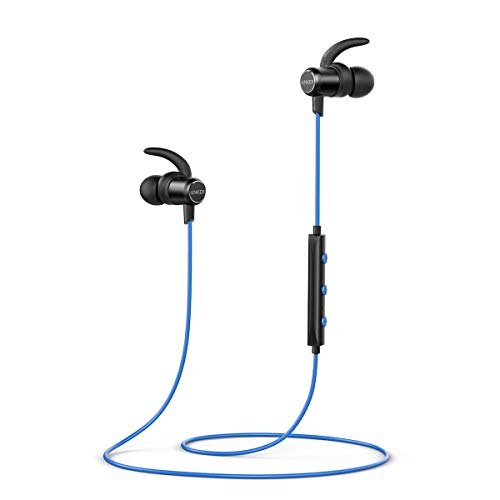 Anker SoundBuds Slim Wireless Headphones, Lightweight Bluetooth 4.1, Earbuds with Magnetic Connection Nano Coating, IPX5 Sweat Resistant, Sports Headset with Metallic Housing (Blue)