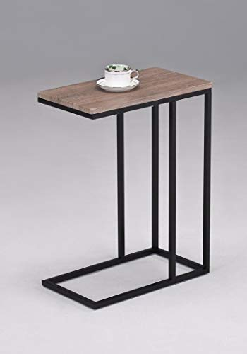 (Reclaimed Wood Look Finish Chrome Snack Side End Table)