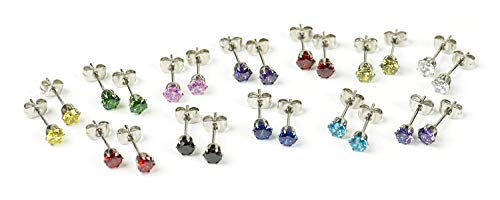 12 Pairs of 4mm Small Stud CZ Earrings in Surgical Stainless Steel - Perfect for kids!