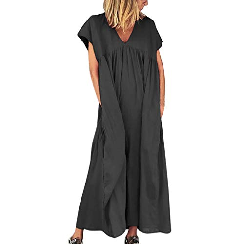 Sunhusing Women's Solid Color V-Neck Short-Sleeve Casual Loose Large Size Summer Beach Ankle Length Dress ()