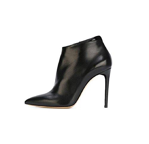 pelle di Plus Vera caviglia di di 39 a moda spillo breve scarpe piccola velluto stivali Stivaletto 39 punta tacchi donna dIwPqwR