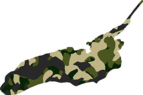 hBARSCI Lake Ontario Vinyl Decal - 5 Inches - for Cars, Trucks, Windows, Laptops, Tablets, Outdoor-Grade 2.5mil Thick Vinyl - Camo ()