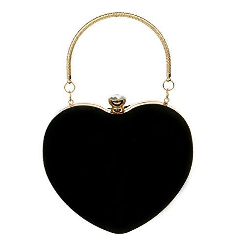 Buddy Mini Handbag Women Heart Shape Clutch Purse Velvet Shoulder Bag Evening Tote Chain Purse Black