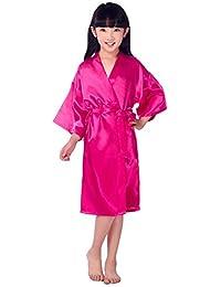 Children's Silk Stain Pure Kimono Wedding Dressing Gown Kimono Robes Bridal Lingerie Sleepwear