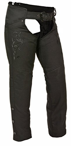 Milwaukee Leather Women's Textile Chap w/ Tribal Embroidery & Reflective Detail (Black, 2X)