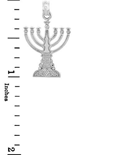 """10 ct 471/1000 Juif Or - """"Menorah"""" Or Blanc Pendentif"""