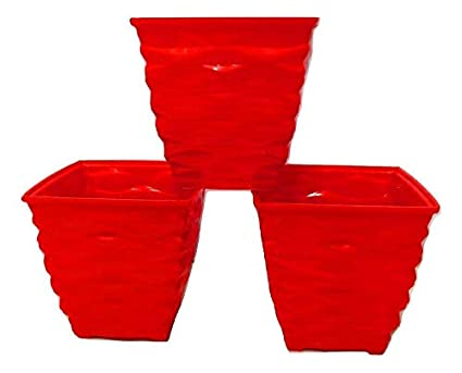 Antier 4 -Inch Plastic Cool Square Planter Pots for Gardening Plantation (Set of 3pcs) in Red Color for Indoor, Home, Office and Outdoor use, Decorative Gift Item Flower Pots, Durable Product