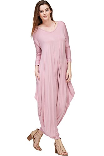 Annabelle Women's Long Sleeve Comfy Harem Jumpsuits Romper With Pockets (X-Large, Mauve)