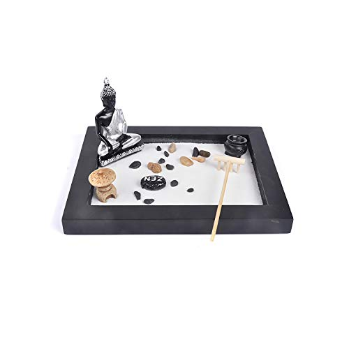 Collection Garden Zen (Deluxe Zen Garden Mini Meditation Kit with Figures and Natural River Rocks for Your Desktop Home Or Office)