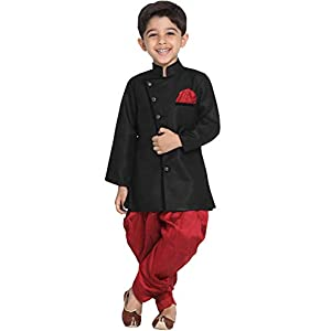 JBN Creation Boys' Black Cotton Blend Sherwani Style Kurta Set(VASBSW120)