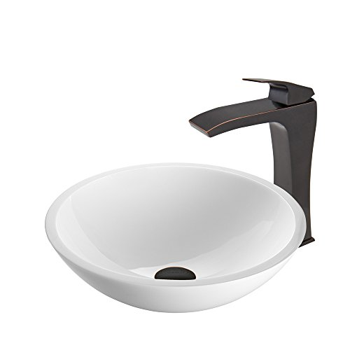 Edged Bowl Kitchen Sink - VIGO Flat Edged White Phoenix Stone Vessel Sink and Blackstonian Vessel Faucet with Pop Up, Antique Rubbed Bronze
