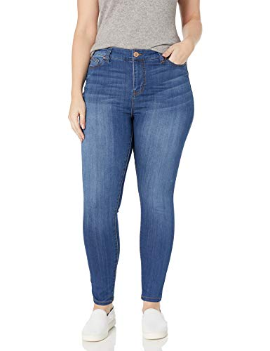 Celebrity Pink Jeans Women's Plus Size Infinite Stretch Mid Rise Skinny Jeans, Kings of Leon Md, 16W
