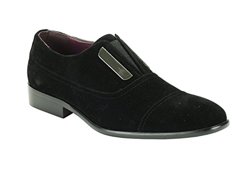 Harlem Knights 6593 Mens Two Tone Faux Suede Shoes Black nD40M