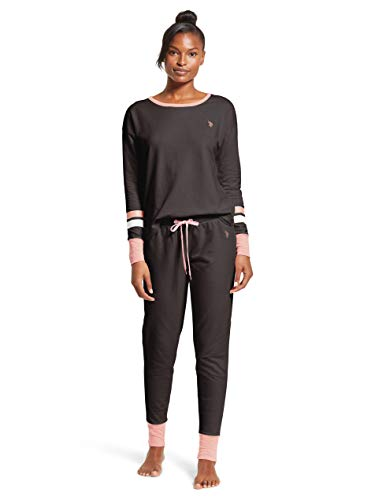 U.S. Polo Assn. Womens Cuffed Long Sleeve Shirt and Lounge Pajama Pants Sleep Set Dark Charcoal Heather Small