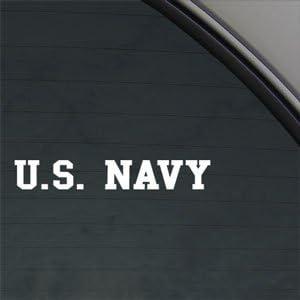 Navy Banner USN Decal Car Truck Window Sticker 7.5x1.3in White C60161 U.S