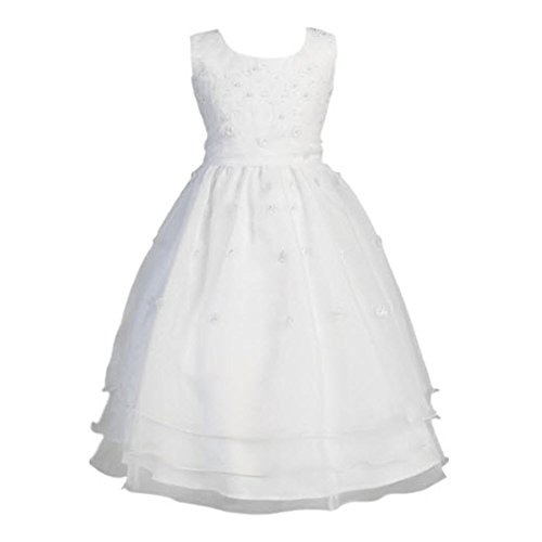 White Sleeveless Embroidered Organza Communion Dress with Pearled Accented Bodice - Size 8 ()