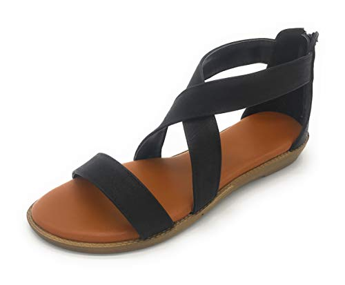 EASY21 Fashion Women Roman Style Gladiator Sandals Ankle Strap Summer Flat Shoes (9 US, 01BLACK)