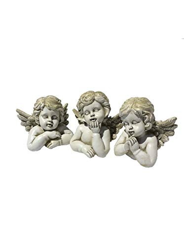 (Cherub Angels Collectible Figurines, Assorted Set of 3, Perfect for a Tabletop/a Shelf Arrangement/Durable for Garden Display-Gift Giving)