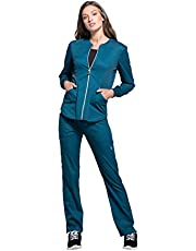 CHEROKEE Womens Luxe Sport Zip Front Warm-up Jacket