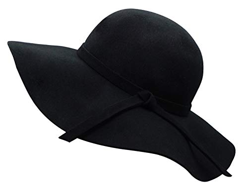 Bienvenu Women's Wide Brim Wool Ribbon Band Floppy Hat Black -