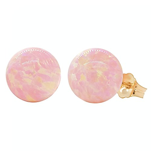 Trustmark 14-20 Gold Filled 10mm Pink Angel Skin Synthetic Opal Ball Stud Post (Gold 17 Jewel)