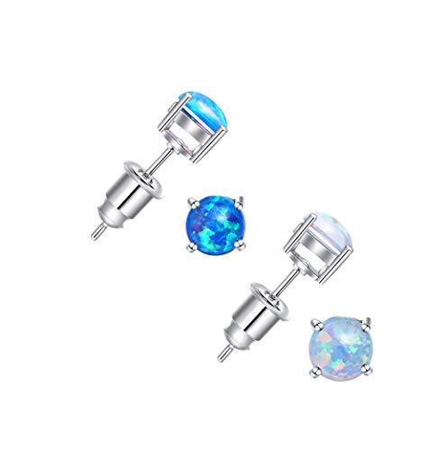 (Zealmer 14K White Gold Filled 6mm Round White Blue Opal Stud Earrings for Girls Women Pack of 2 Pairs)