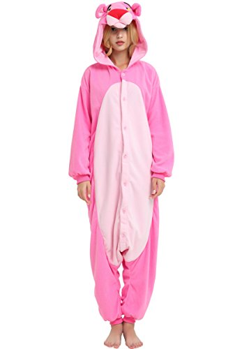 Pink Panther Onesie for Adult and Teenagers. Halloween Animal Kigurumi Pajama Costume for Men and Women.L -