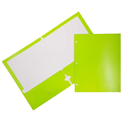 - JAM PAPER Laminated Two Pocket Glossy 3 Hole Punch School Folders - Lime Green - 6/Pack