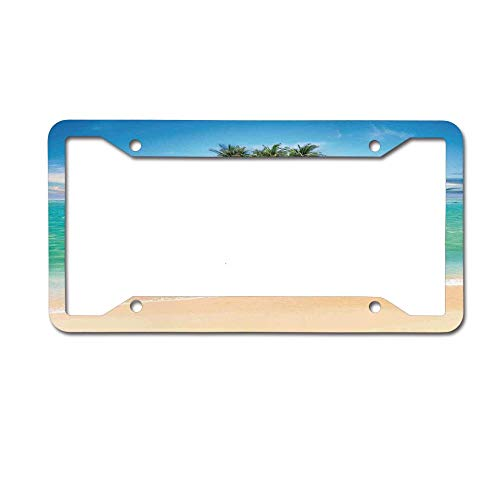 Tropical Island Sandy Seaside Clear Water Honeymoon Destination License Plate Frame Black - Aluminum Metal License Plate Covers Cute Car Tag Frame for Women