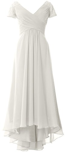 MACloth Cap Sleeves V Neck High Low Mother of Bride Dress Evening Formal Gown Marfil