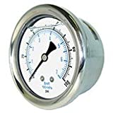 NEW STAINLESS STEEL LIQUID FILLED PRESSURE GAUGE WOG WATER OIL GAS 0 to 100 PSI BACK MOUNT 0-100 PSI 1/8'' NPT 1.5'' FACE DIAL FOR COMPRESSOR HYDRAULIC AIR TANK