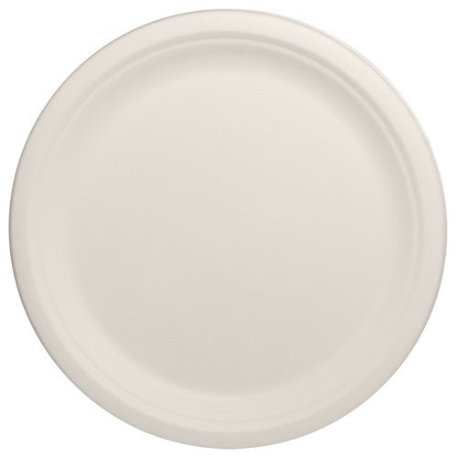 Durable-Eco-Friendly-10-Bagasse-Plates-Pack-of-Round-White-Plates-Microwave-Safe-Compostable-Made-from-Sugercane-Fibers