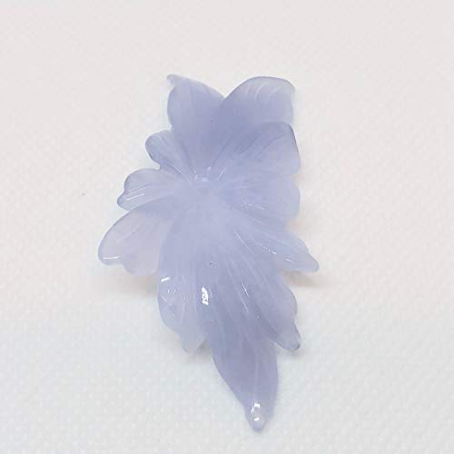 50cts! Hand Carved Blue Chalcedony Flower Bead! 009850Q