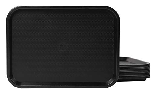 Food Serving Trays - 12-Pack Plastic Lunch Trays for Eating, Cafeteria, Fast Food Service, Food Court Style, Restaurant Supplies, Black, Standard Size, 12 x 16.2 x 0.7 Inches