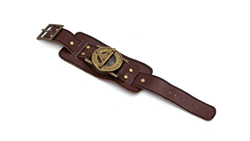 ROORKEE INSTRUMENTS (INDIA) A NAUTICAL REPRODUCTION HOUSE Stempunk Solid Brass Wrist Watch Sundial with Soft Leather Band 4