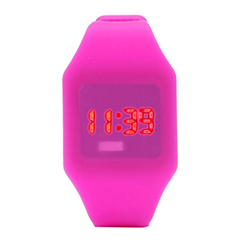 Price comparison product image Mens Womens Silicone LED Watch Sports Bracelet Digital Wrist Watch by Rakkiss (Hot Pink)
