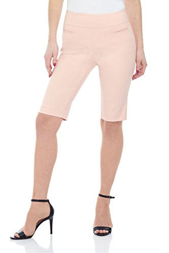 Rekucci Women's Ease in to Comfort Fit Pull-On Modern City Shorts (4,Petal Pink)