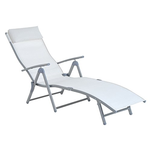Chic Reclining Chaise Lounge Chair Folding Pool Beach Yard Adjustable Patio Furniture You will experience entertainment and pleasure from sitting in it.In White - The Hut Fort Fl Myers