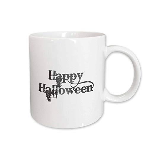 3dRose InspirationzStore - Occasions - Happy Halloween grunge grungy scary writing font dark grey text - 11oz Two-Tone Blue Mug (mug_318144_6) -