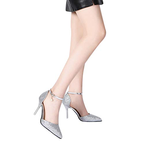 - Woman Shoes Pump,Womens Open Toe Med-Heeled Sandals Retro Dancing Party Shoes Glossy Shoes Silp On Ballet Shoes Silver