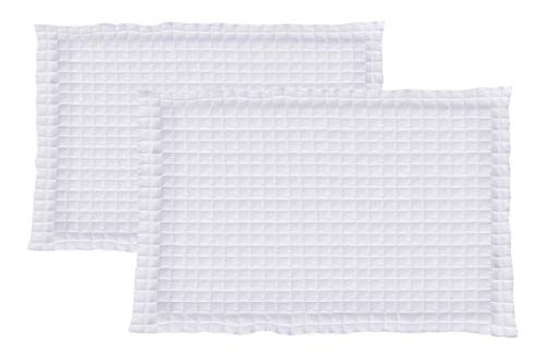 La Vie Moderne Quilted 1800 Thread Count Microfiber Pillow Shams | Set of 2 | King/White (Shams Quilted)