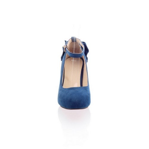 Womens jane Kitten Closed Heels Mary Toe Blue Bottom PU VogueZone009 with Pumps Frosted Round Red dzCwf5xq