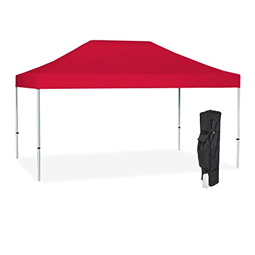 Vispronet Commercial Instant 10ft x 15ft Red Canopy Tent Kit - Pop Up Tent - Aluminum Hex Frame - Water-Resistant 450D Canopy with Roller Bag and Stakes